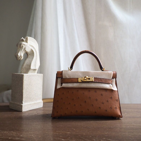 Hermes Mini Kelly 19cm Ostrich Gold Hardware, Gold CK37