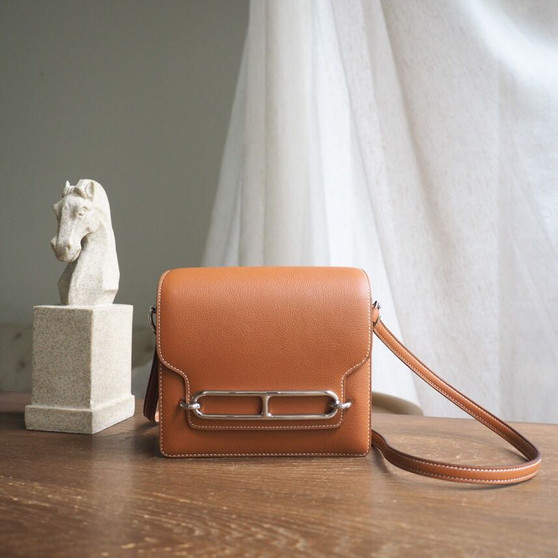 Hermes Roulis 18cm Bag Evercolor Togo Calfskin Leather Gold Hardware, Gold CK37