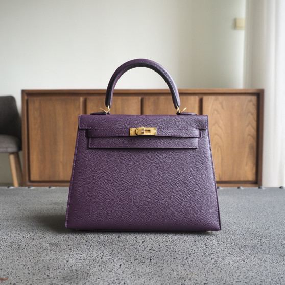 Hermes Kelly 25cm Bag Epsom Calfskin Leather Gold Hardware, CK59
