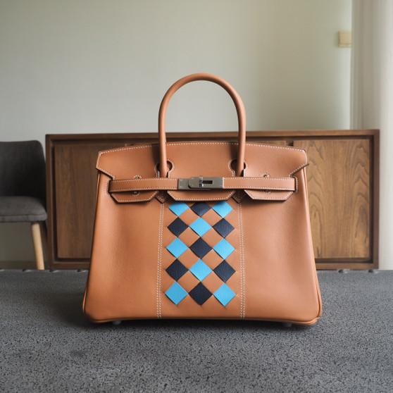 Hermes Tressage Birkin 30cm Bag Swift Calfskin Leather Palladium Hardware, CK37