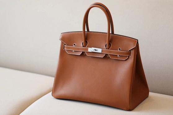 Hermes Birkin 35cm Bag Barenia Leather Palladium Hardware, Gold CK37