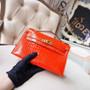 Hermes Mini Kelly Pochette 22cm Bag Shiny Mississippiensis Alligator Skin Palladium Hardware, Orange  Poppy 8V