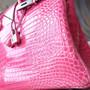 Hermes Birkin 30cm Bag Shiny Mississippiensis Alligator Skin 18KT Diamond Encrusted Palladium Hardware, Fuschia Pink 5J