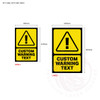 Custom Warning Signage with Icon - sign sizes