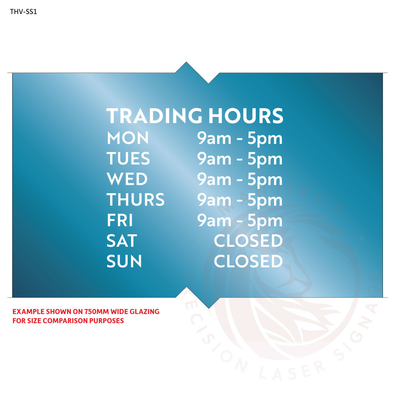 Custom trading hours decal in cut white vinyl - style 1