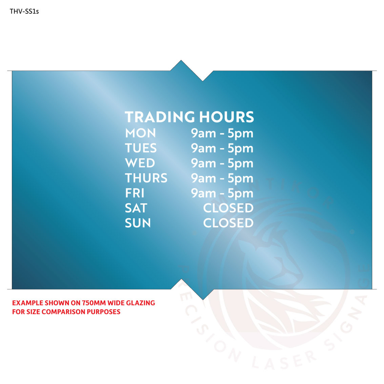 Small custom trading hours decal in cut white vinyl - style 1