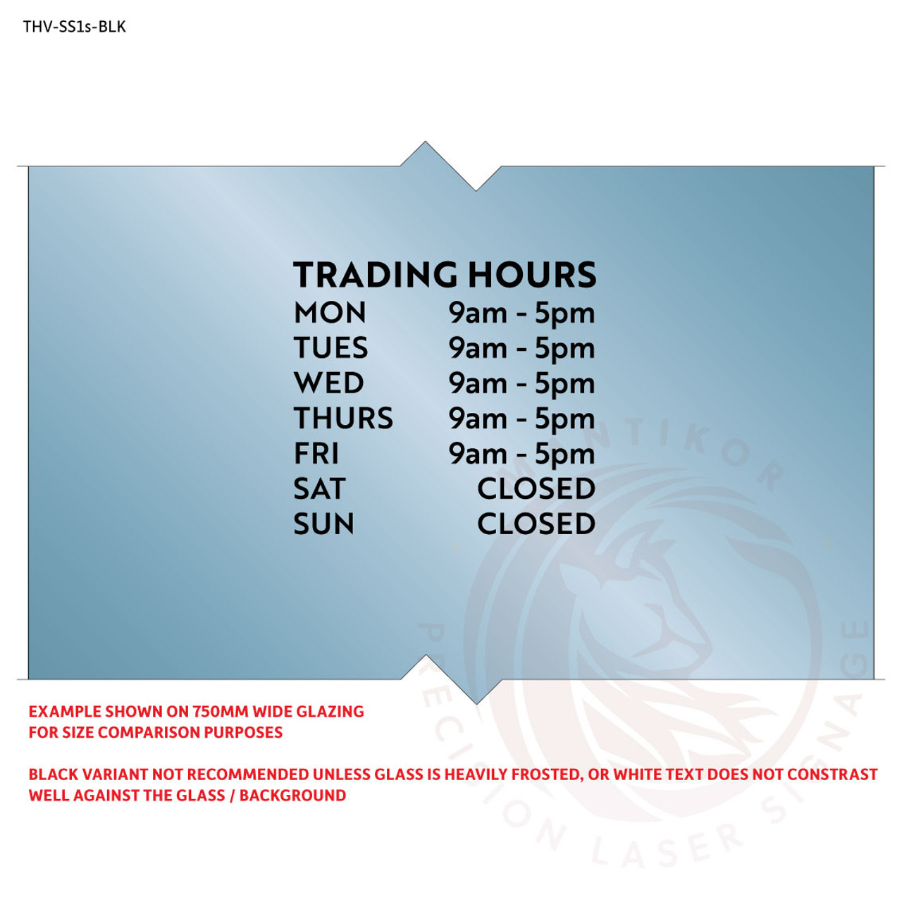 Small custom trading hours decal in cut black vinyl - style 1