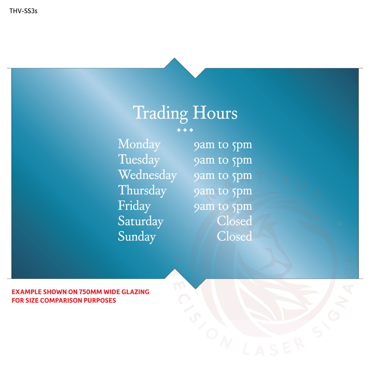 Custom trading hours vinyl decal (small) - made to order - Style 3