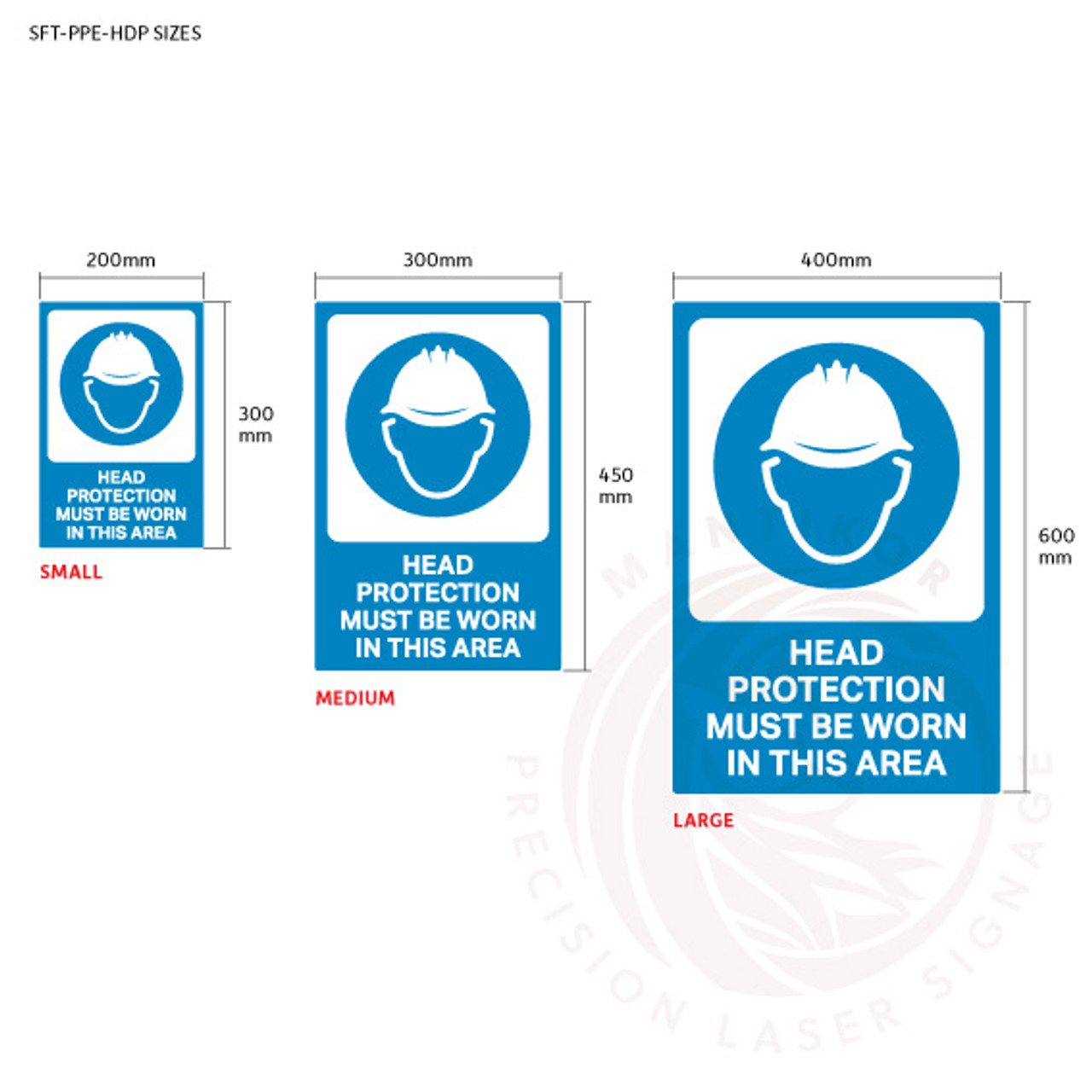 PPE Safety Signage - Head protection sign sizes