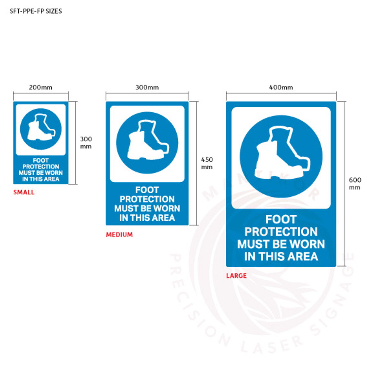 PPE Safety Signage - Foot protection sign sizes