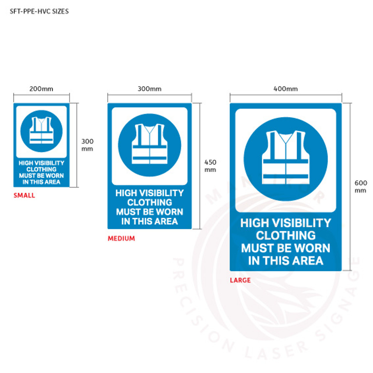 PPE Safety Signage - High visibility clothing sign sizes