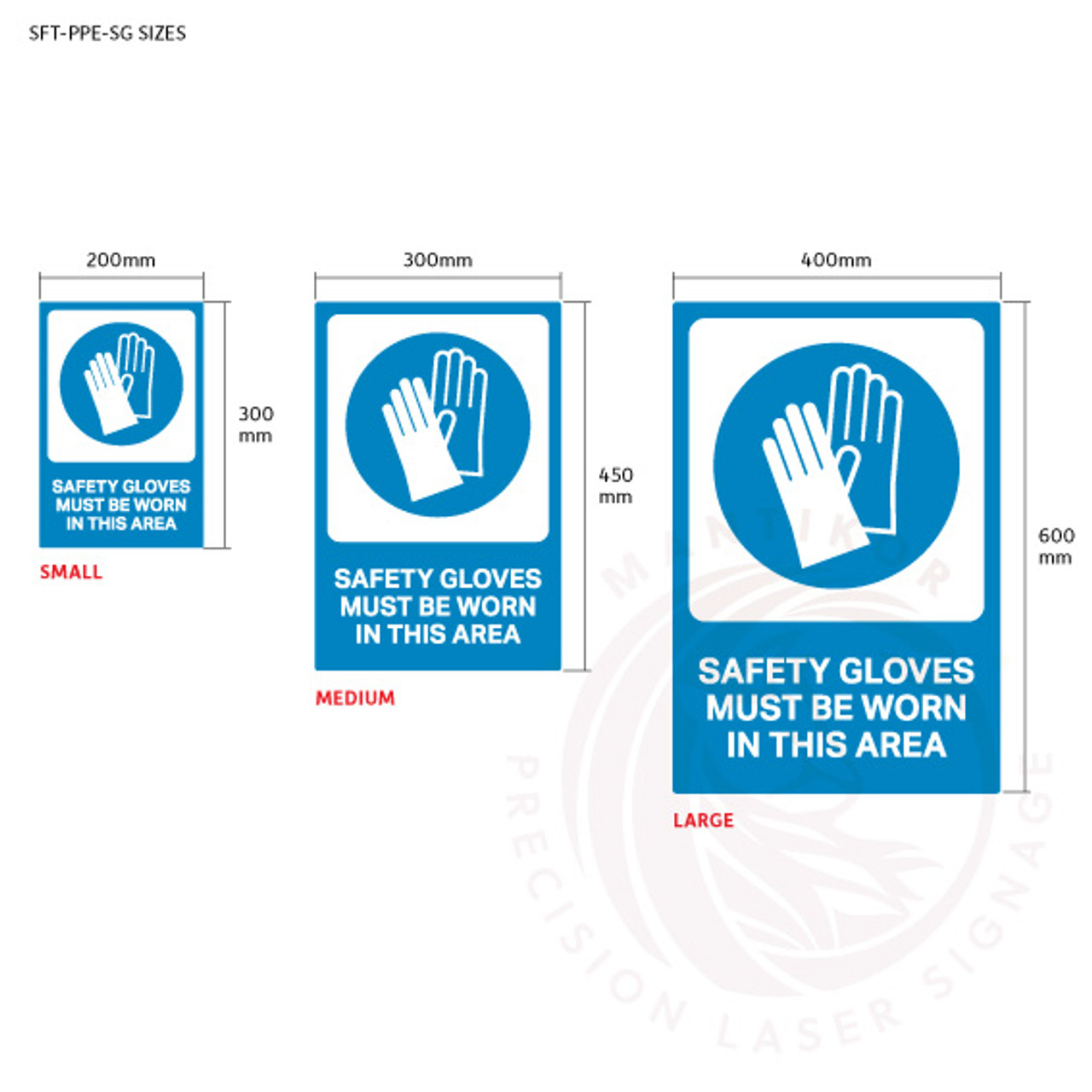 PPE Safety Signage - Safety gloves sign sizes