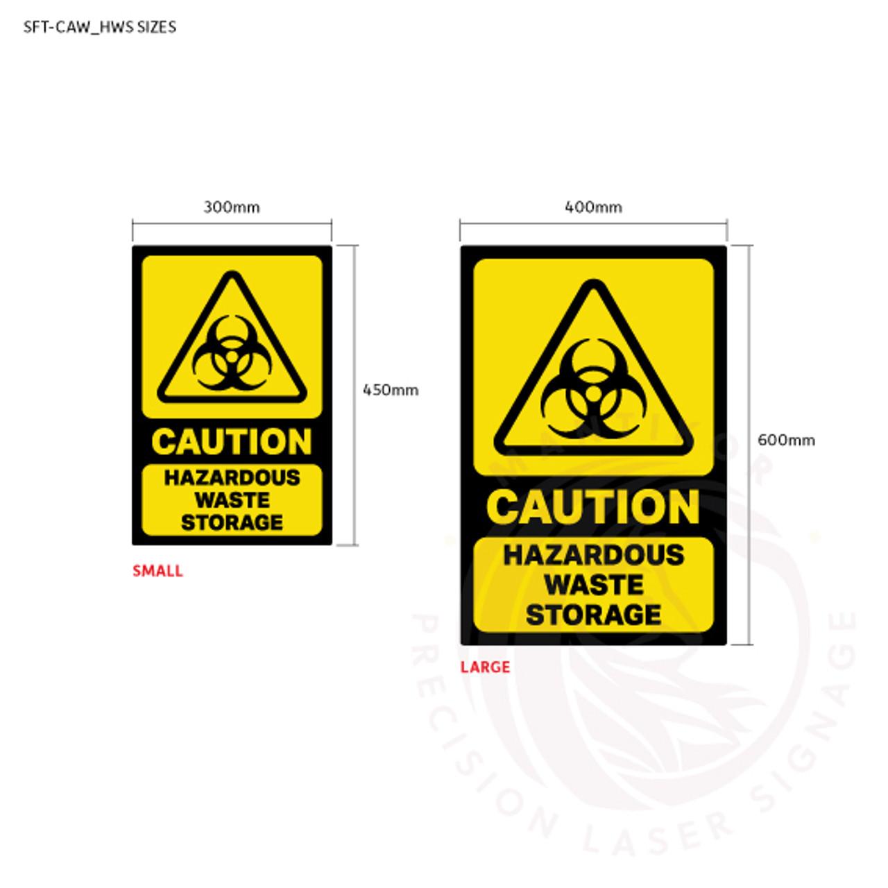 Caution - Hazardous Waste Storage - Sign sizes