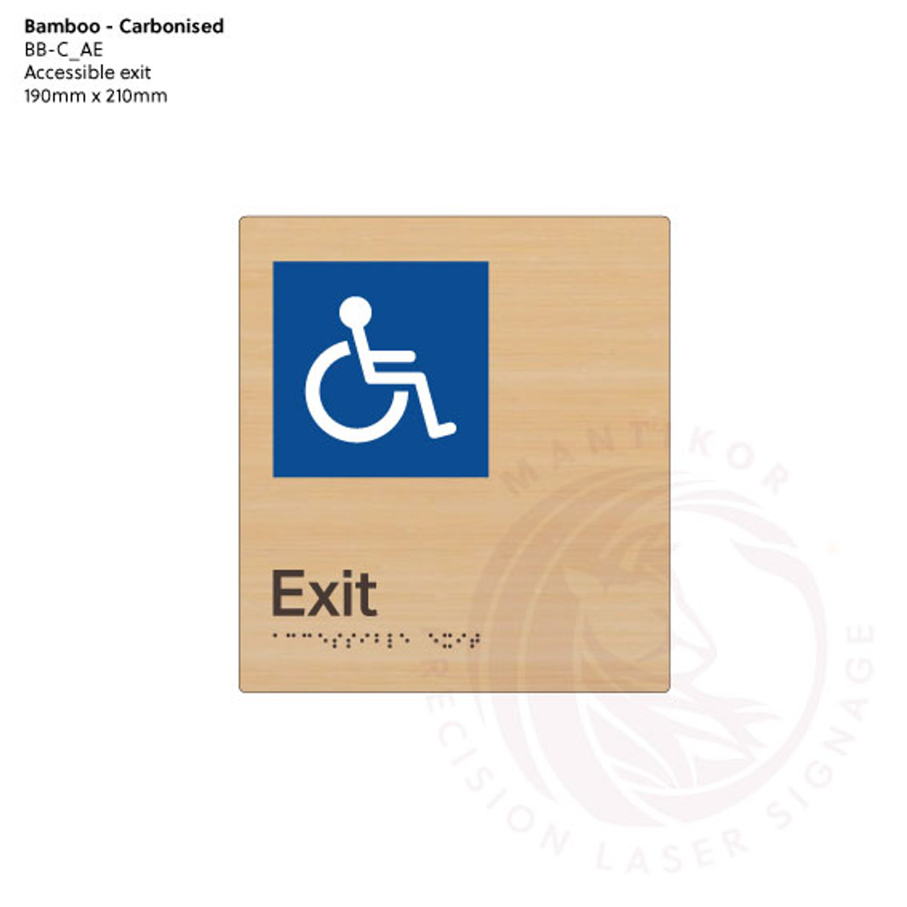 Carbonised Bamboo Tactile Braille Signs - Accessible Exit