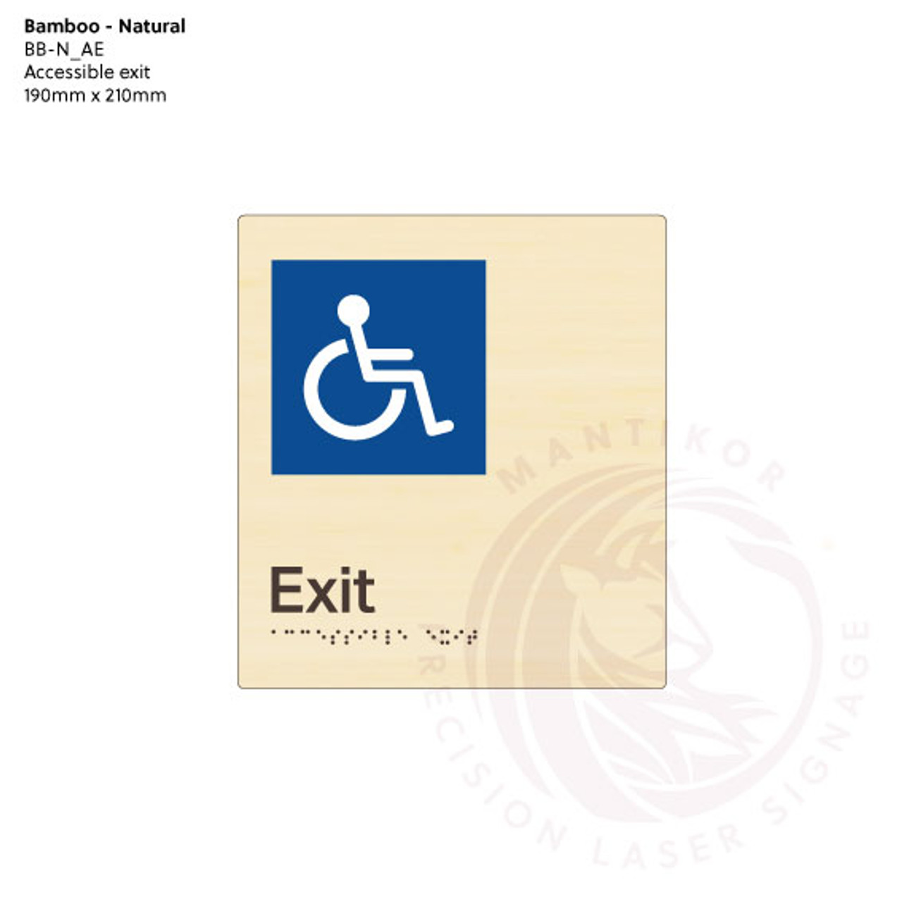 Natural Bamboo Tactile Braille Signs - Accessible Exit