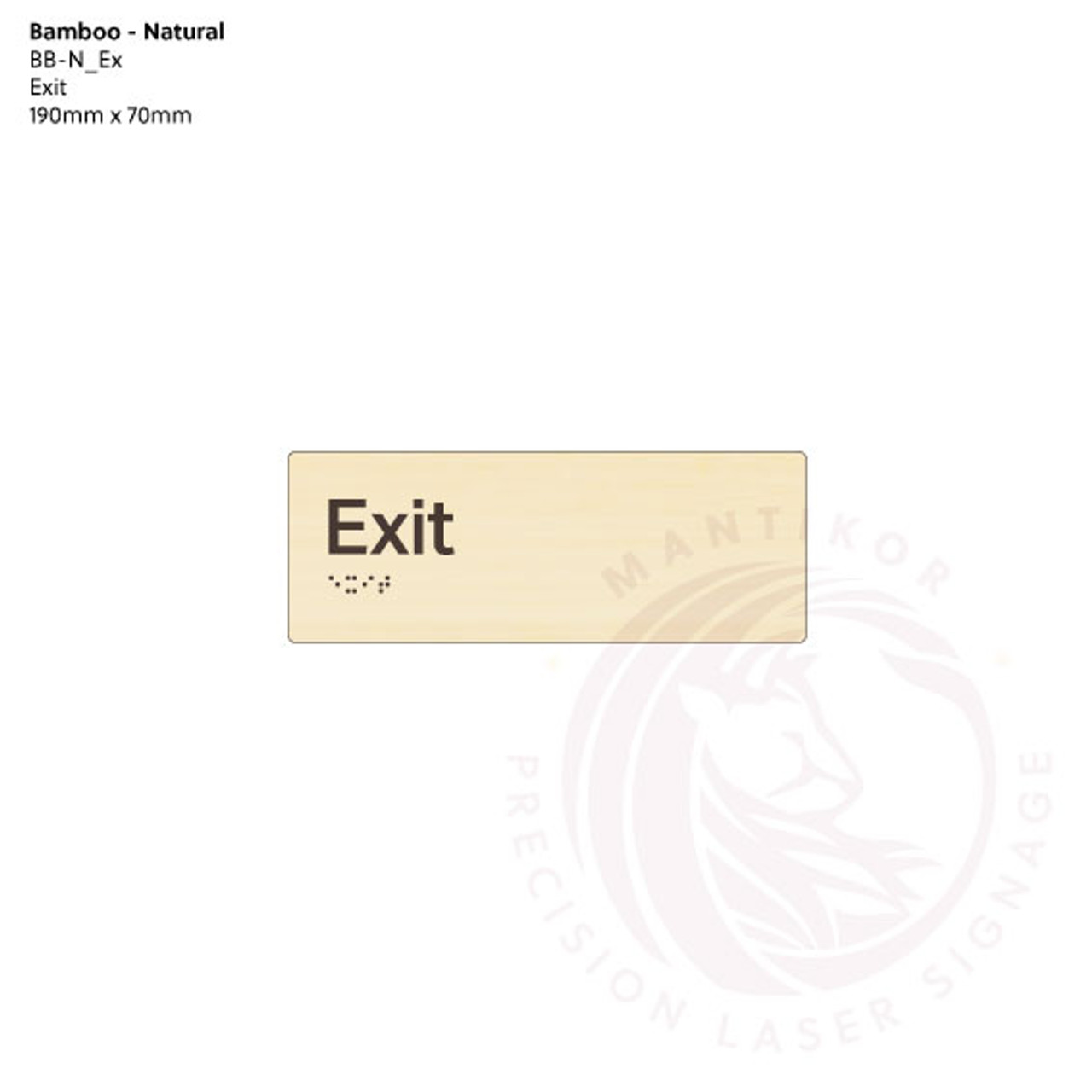Natural Bamboo Tactile Braille Signs - Exit