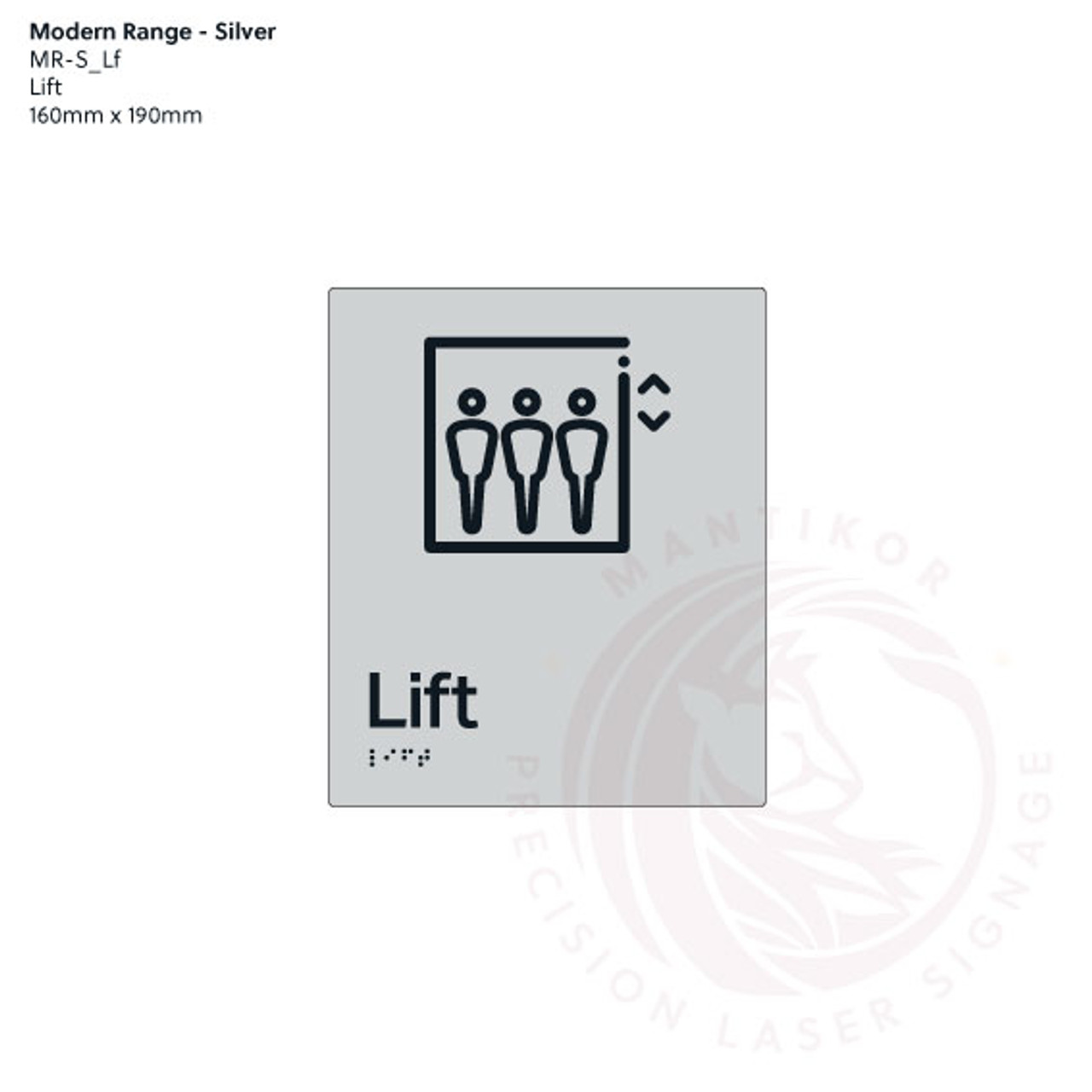 Silver Acrylic Tactile Braille Signs - Lift