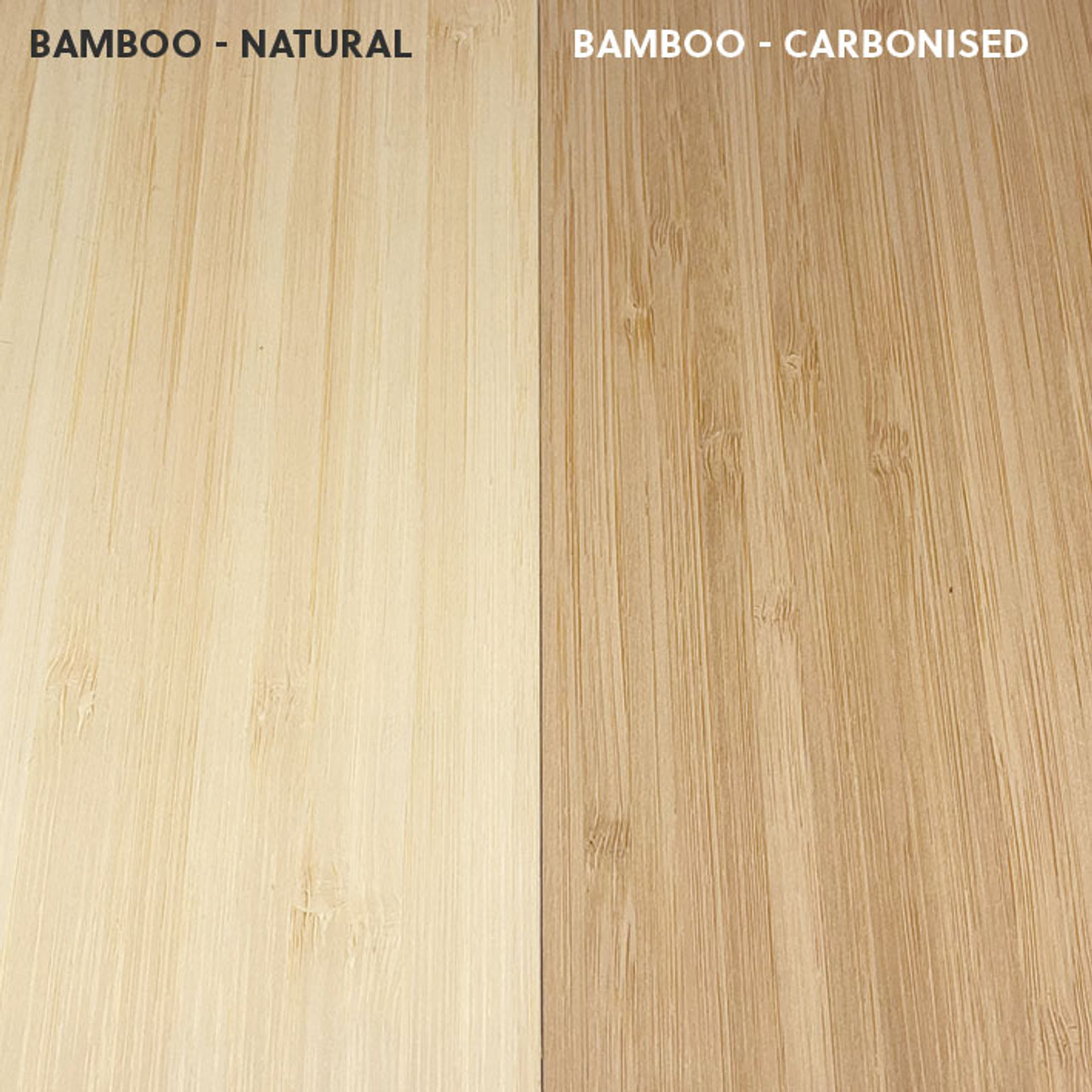 Colour differences between natural bamboo and carbonised bamboo
