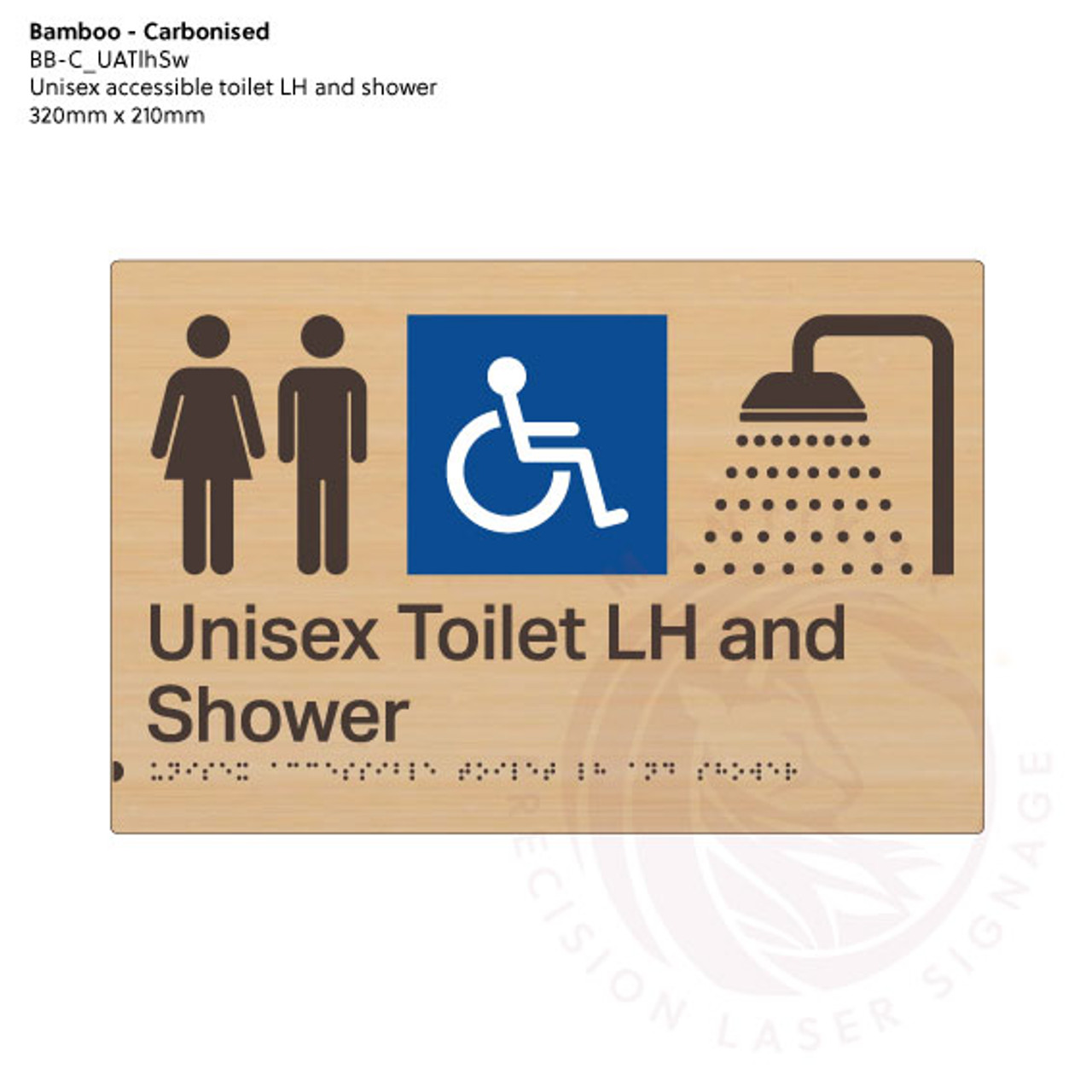Carbonised Bamboo Tactile Braille Signs - Unisex Toilet LH and Shower