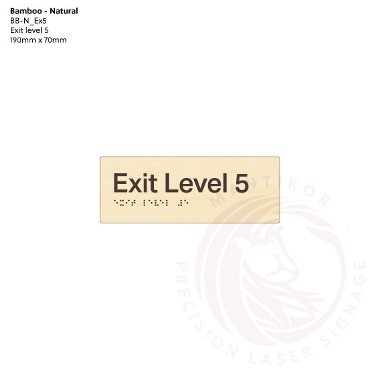 Natural Bamboo Tactile Braille Signs - Exit Level 5
