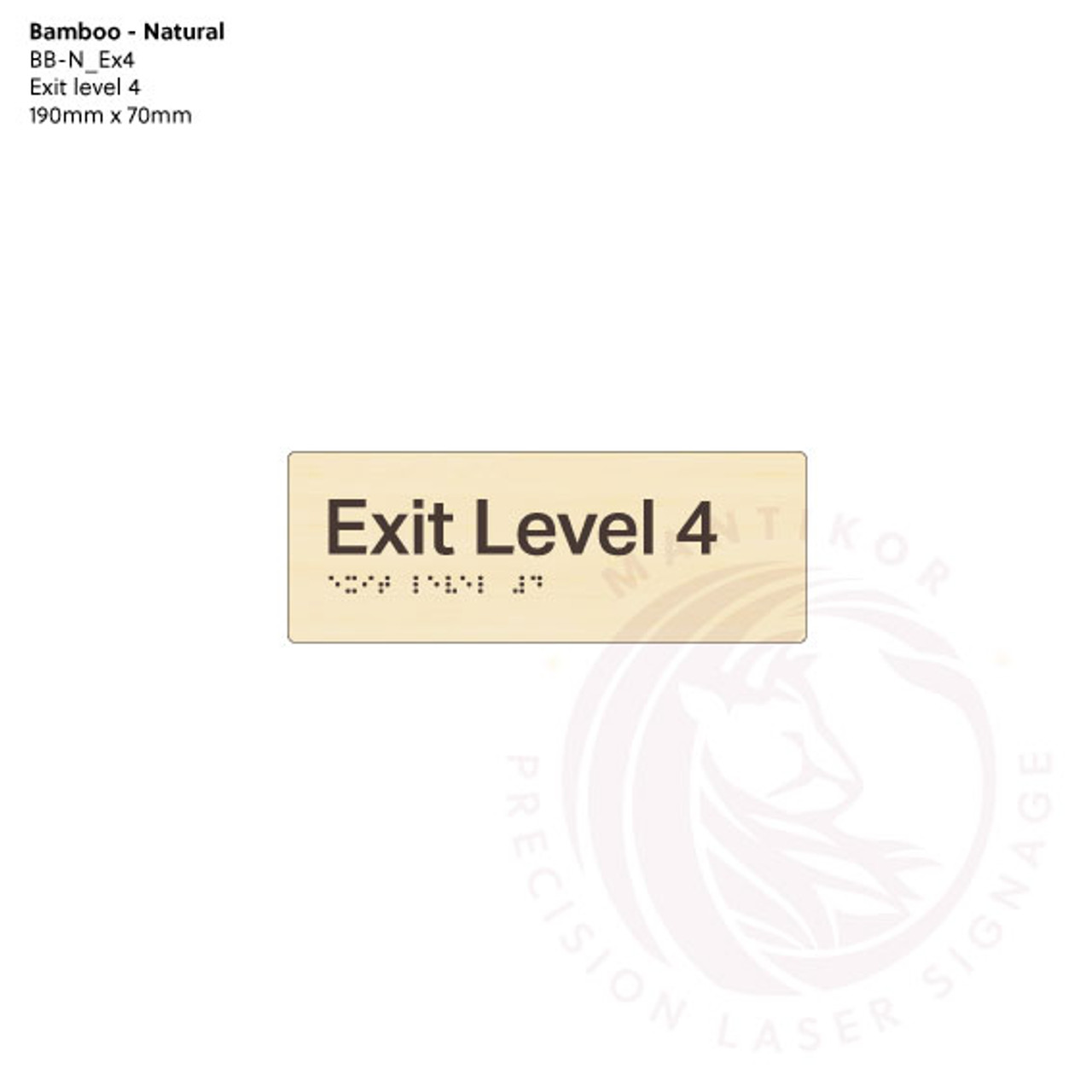Natural Bamboo Tactile Braille Signs - Exit Level 4
