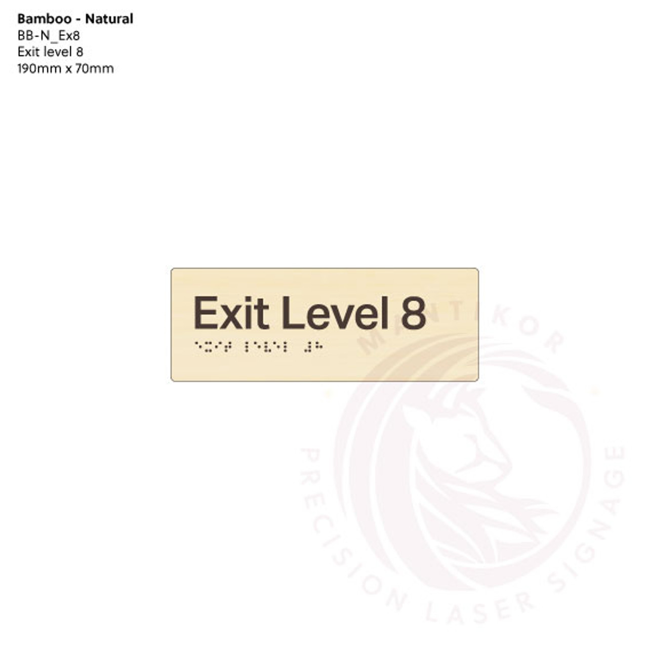 Natural Bamboo Tactile Braille Signs - Exit Level 8