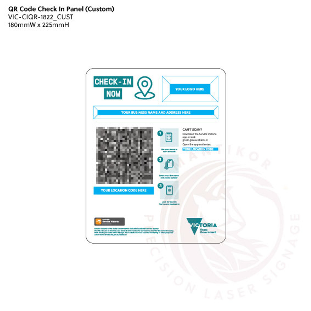 QR Code Check-in Sign (Victoria)  - Custom Fields