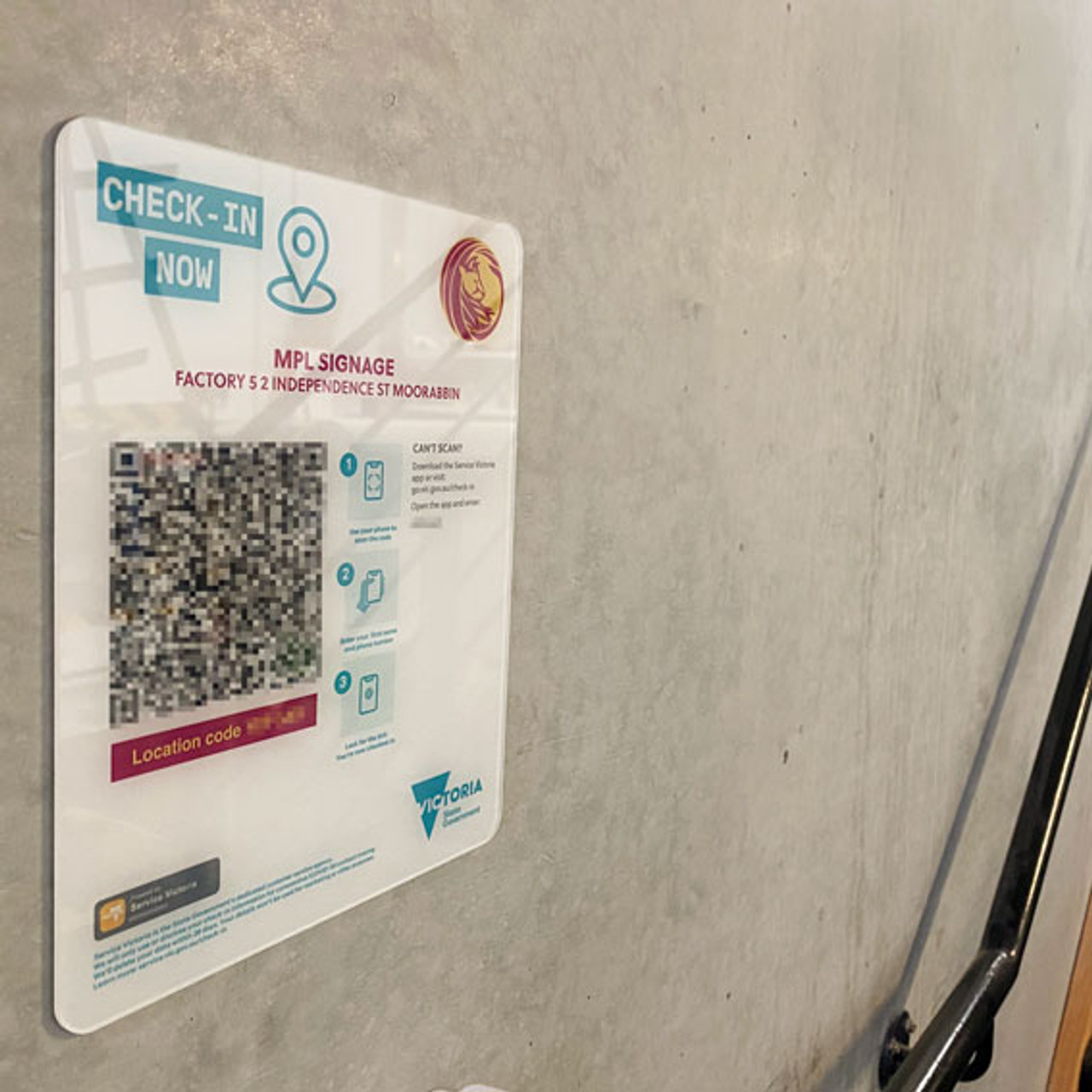 Example of QR Code Check-in Sign