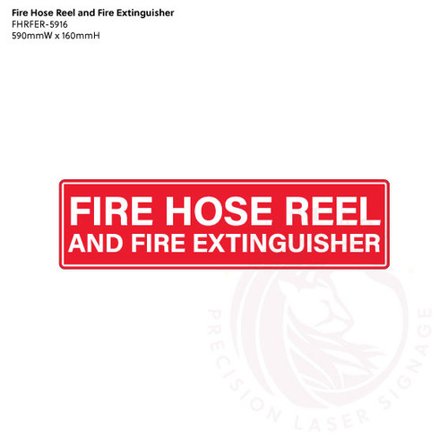 Fire Hose Reel and Fire Extinguisher in Red/White (text only) - Standard statutory sign, compliant with the Building Code of Australia requirements.
