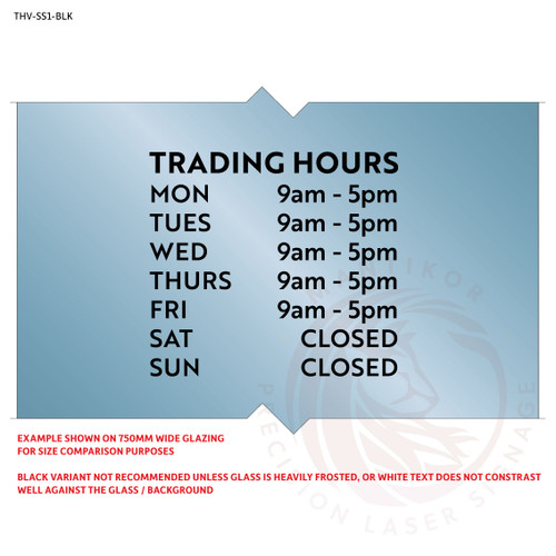 Custom trading hours decal in cut black vinyl - style 1