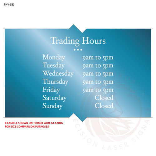 Custom trading hours vinyl decal - made to order - Style 3