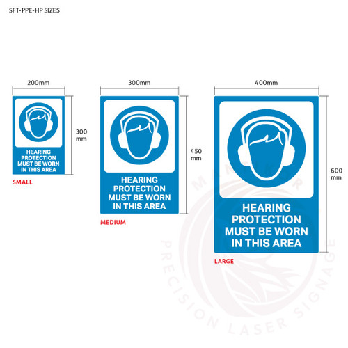 PPE Safety Signage - Hearing protection sign sizes