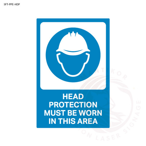 PPE Safety Signage - Head protection must be worn in this area