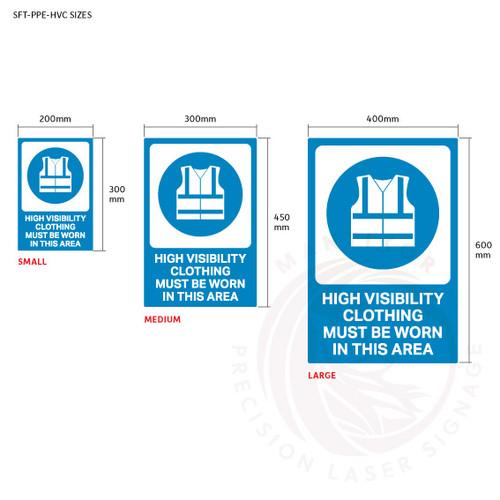PPE Safety Signage - High visibility clothing sign sizes