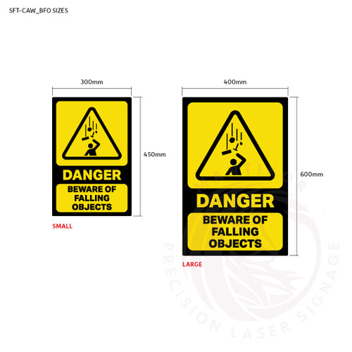 Danger - Beware Falling Objects - Sign sizes