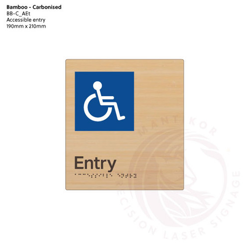 Carbonised Bamboo Tactile Braille Signs - Accessible Entry