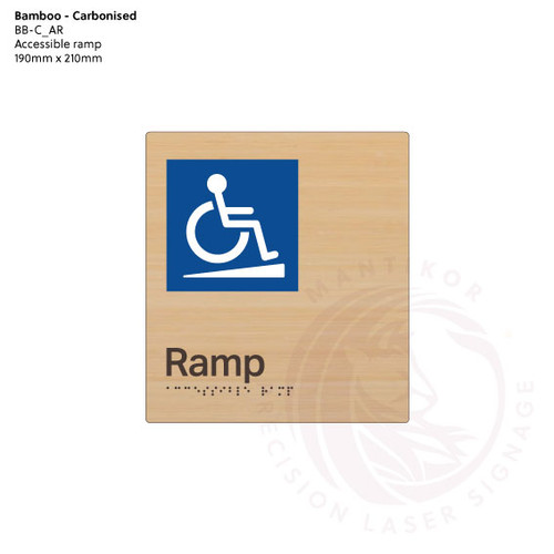 Carbonised Bamboo Tactile Braille Signs - Accessible Ramp