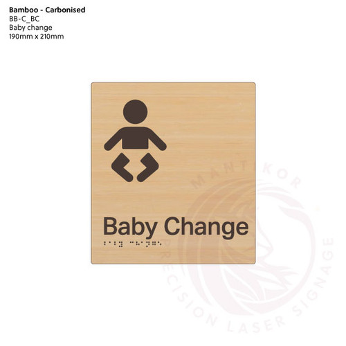 Carbonised Bamboo Tactile Braille Signs - Baby Change