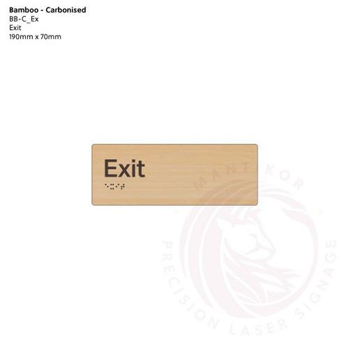 Carbonised Bamboo Tactile Braille Signs - Exit