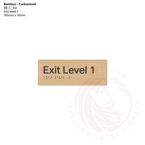 Carbonised Bamboo Tactile Braille Signs - Exit Level 1