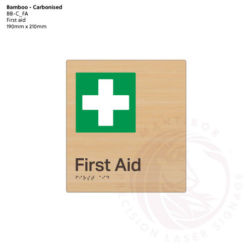 Carbonised Bamboo Tactile Braille Signs - First Aid