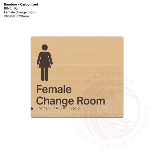 Carbonised Bamboo Tactile Braille Signs - Female Change Room