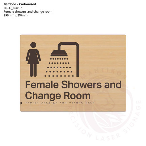 Carbonised Bamboo Tactile Braille Signs - Female Showers and Change Room