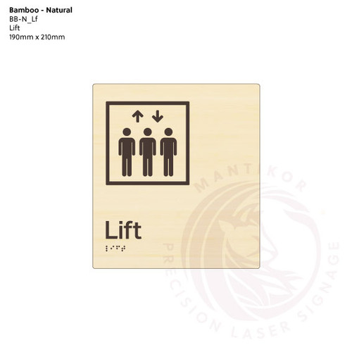 Natural Bamboo Tactile Braille Signs - Lift