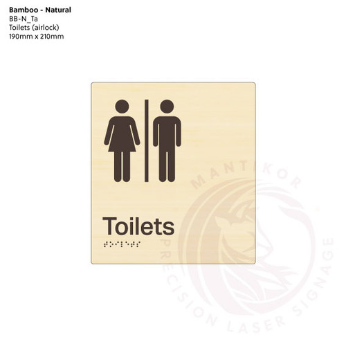 Natural Bamboo Tactile Braille Signs - Toilets (Airlock)