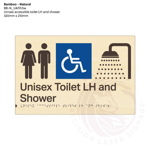 Natural Bamboo Tactile Braille Signs - Unisex Toilet LH and Shower