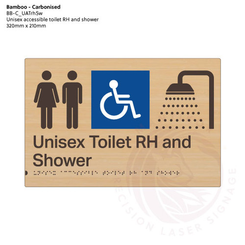 Carbonised Bamboo Tactile Braille Signs - Unisex Toilet RH and Shower