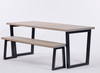 Brinkley Industrial dining table and bench grey