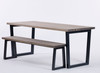 Brinkley Industrial dining table and bench distressed grey