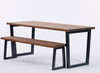 Brinkley Industrial dining table and bench dark brown